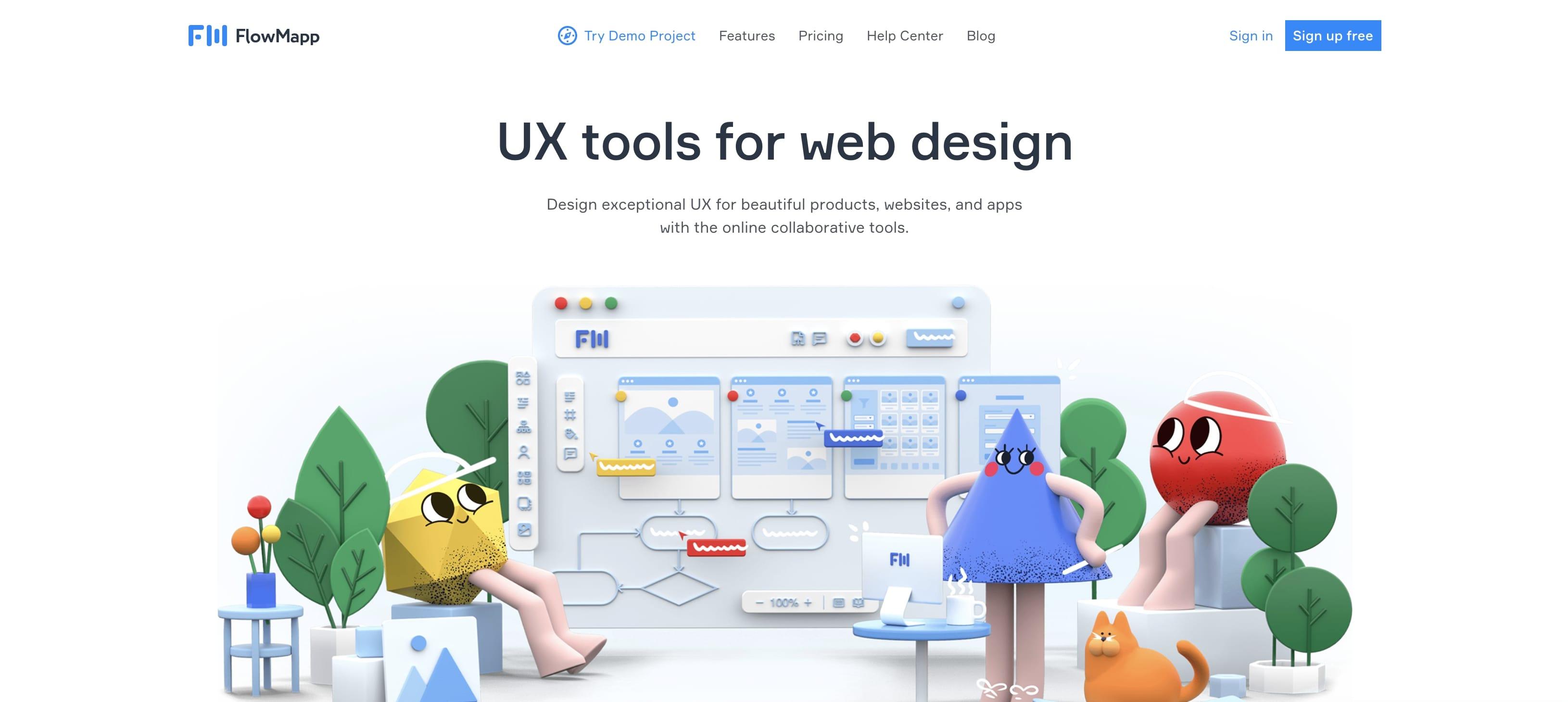 An image of the FlowMapp website.