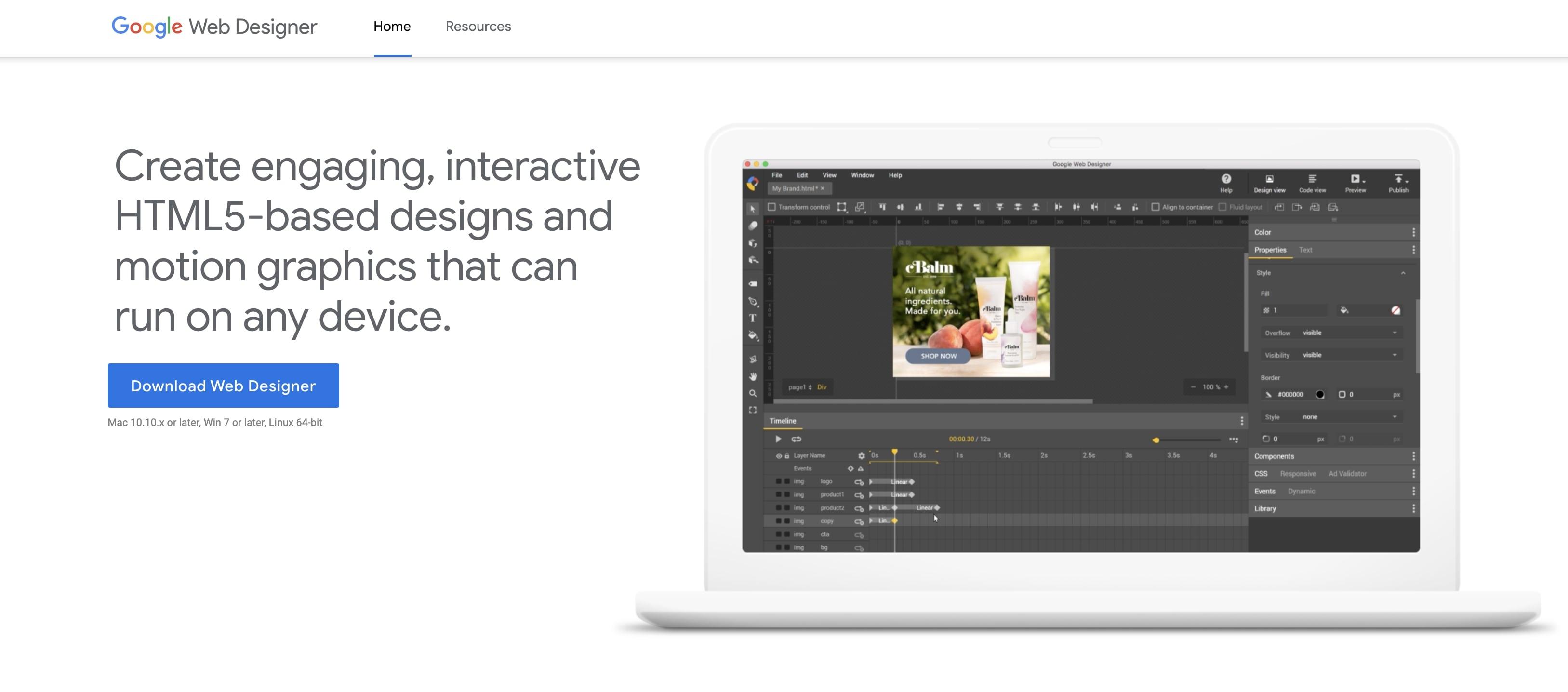 An image of the Google Web Designer website.