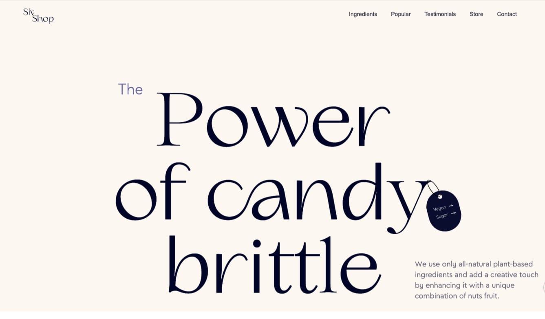 Screenshot of candy brittle template
