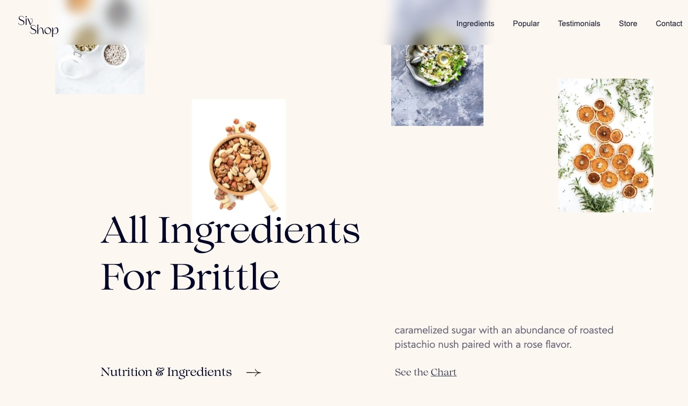 Screenshot of candy brittle template showing different products