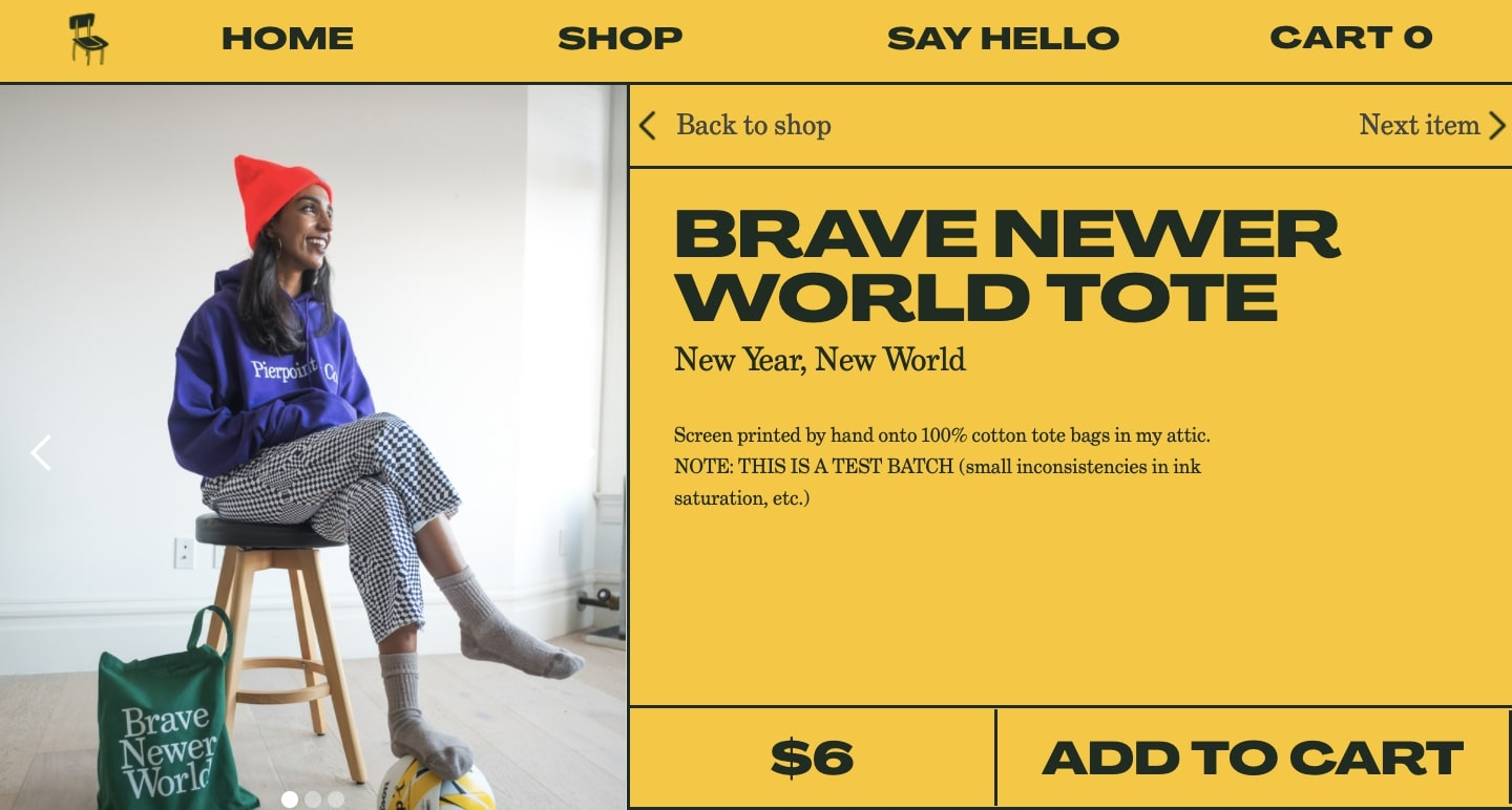 Committee Chairs product page for Brave Newer World tote