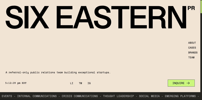 Six Eastern homepage
