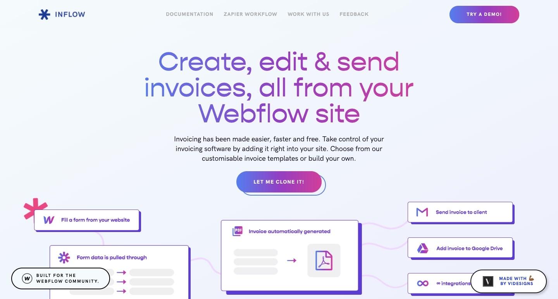 Inflow homepage