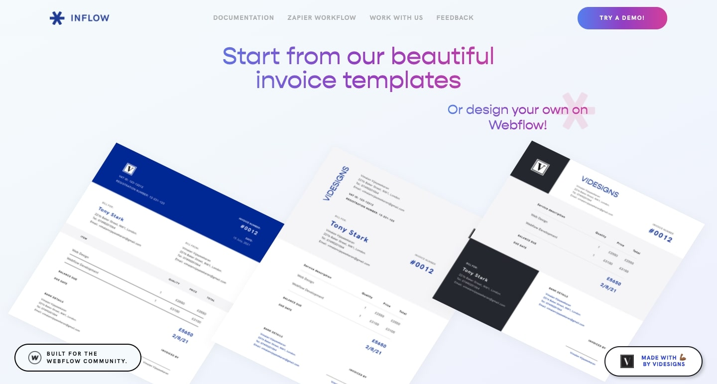 Inflow homepage showing pre-made invoice templates