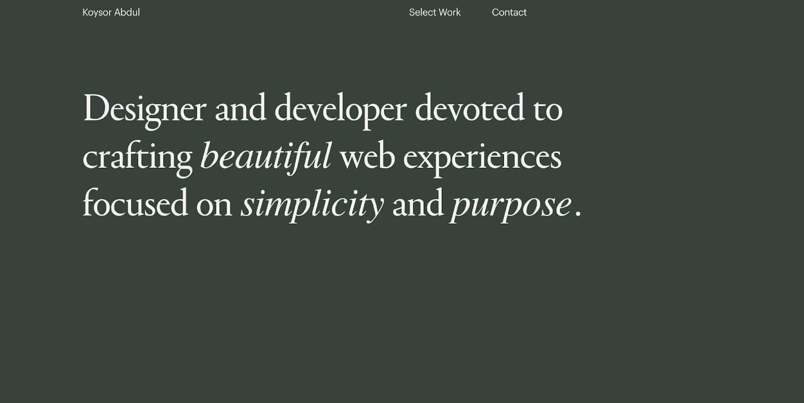 Screenshot of Koysor Abdul's portfolio homepage
