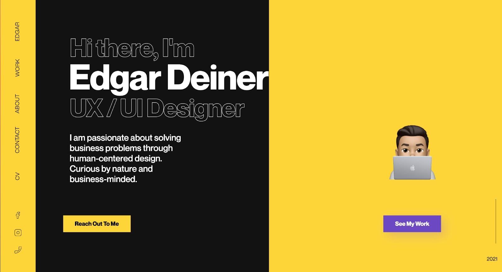 Screenshot of Edgar Deiner's portfolio homepage