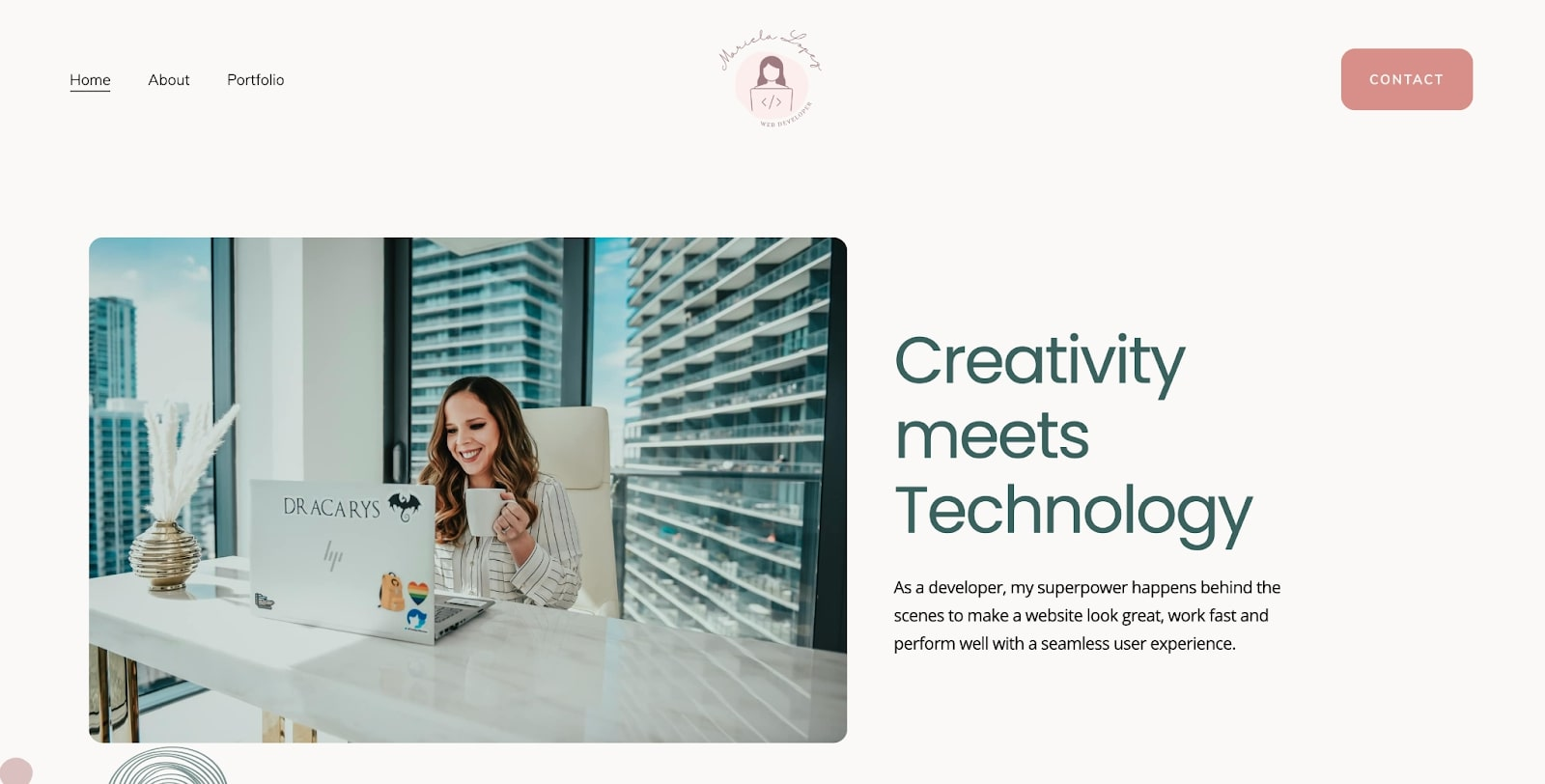 Screenshot of Mariela Lopez's portfolio homepage