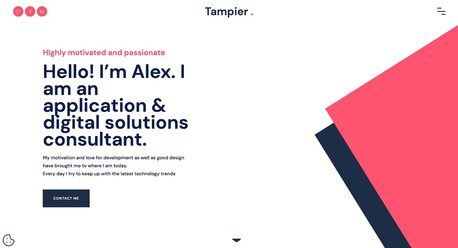Screenshot of Alex Tampier's portfolio homepage