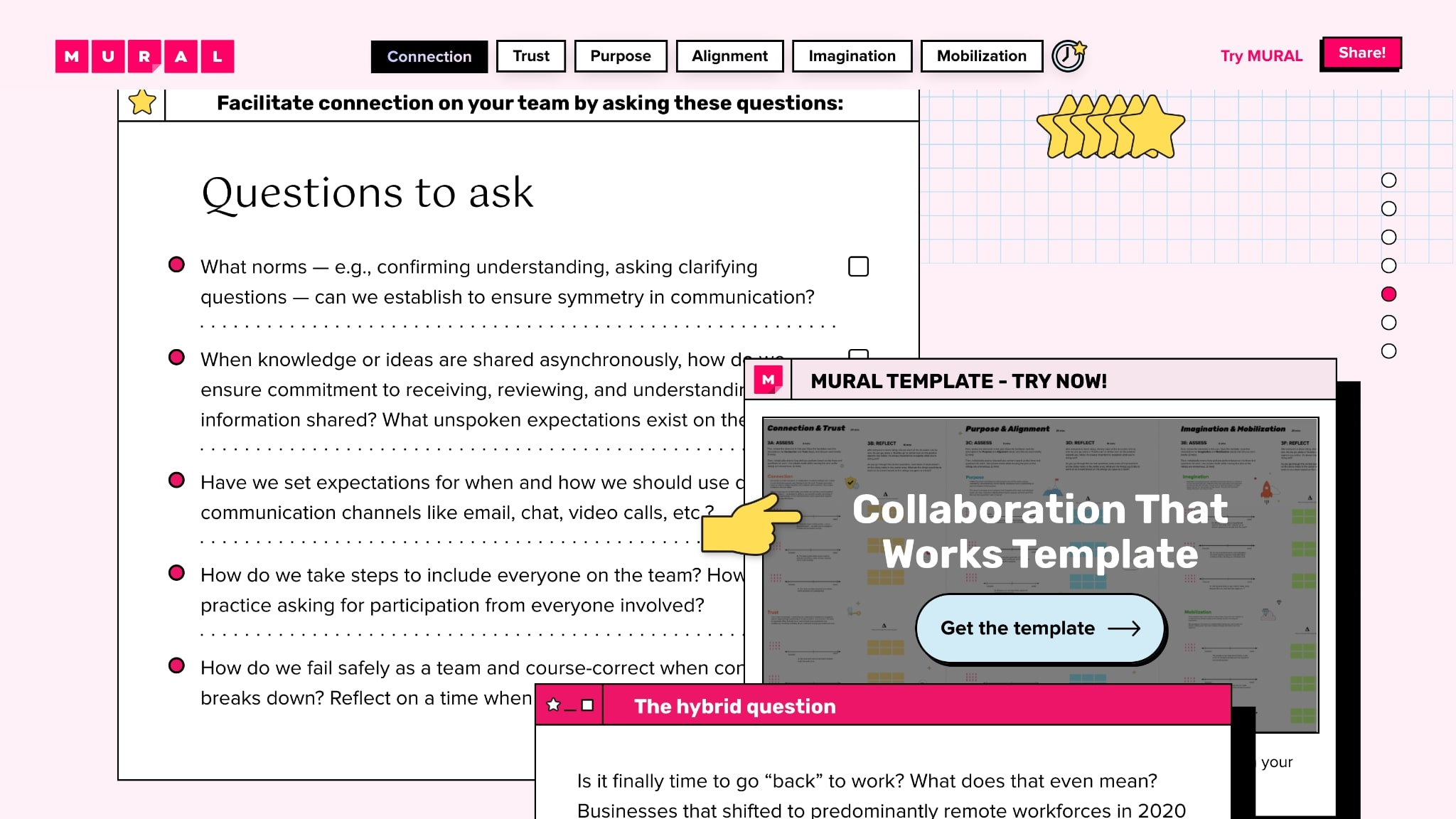 An image of MURAL's interactive landing page about collaboration.