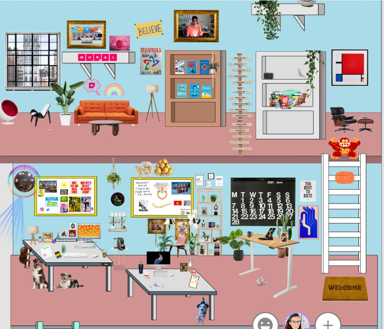 An image of the MURAL design team's virtual office.