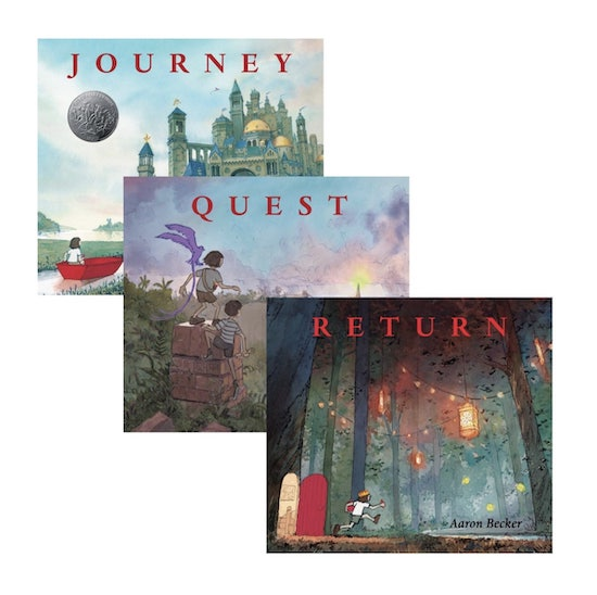 An image of Aaron Becker's Wordless Trilogy books: Journey, Quest and Return.