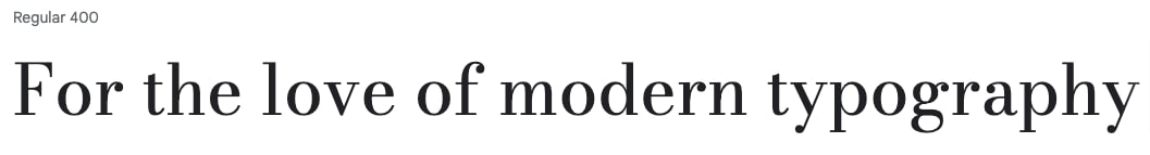 """""""For the love of modern typography"""" in Bodoni Moda font"""