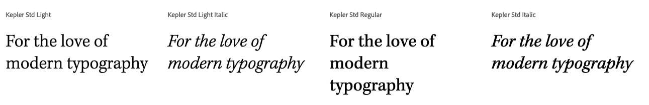 """""""For the love of modern typography"""" in Kepler font"""