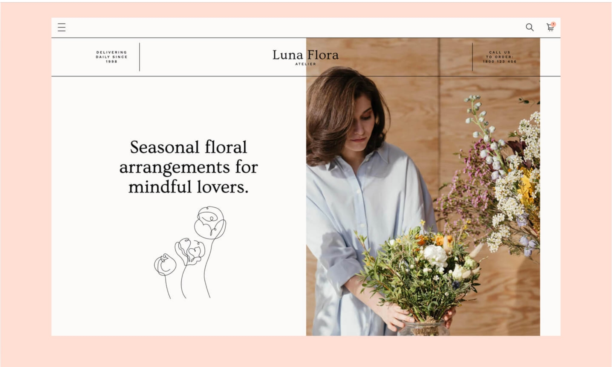 An image of the Luna Flora website.