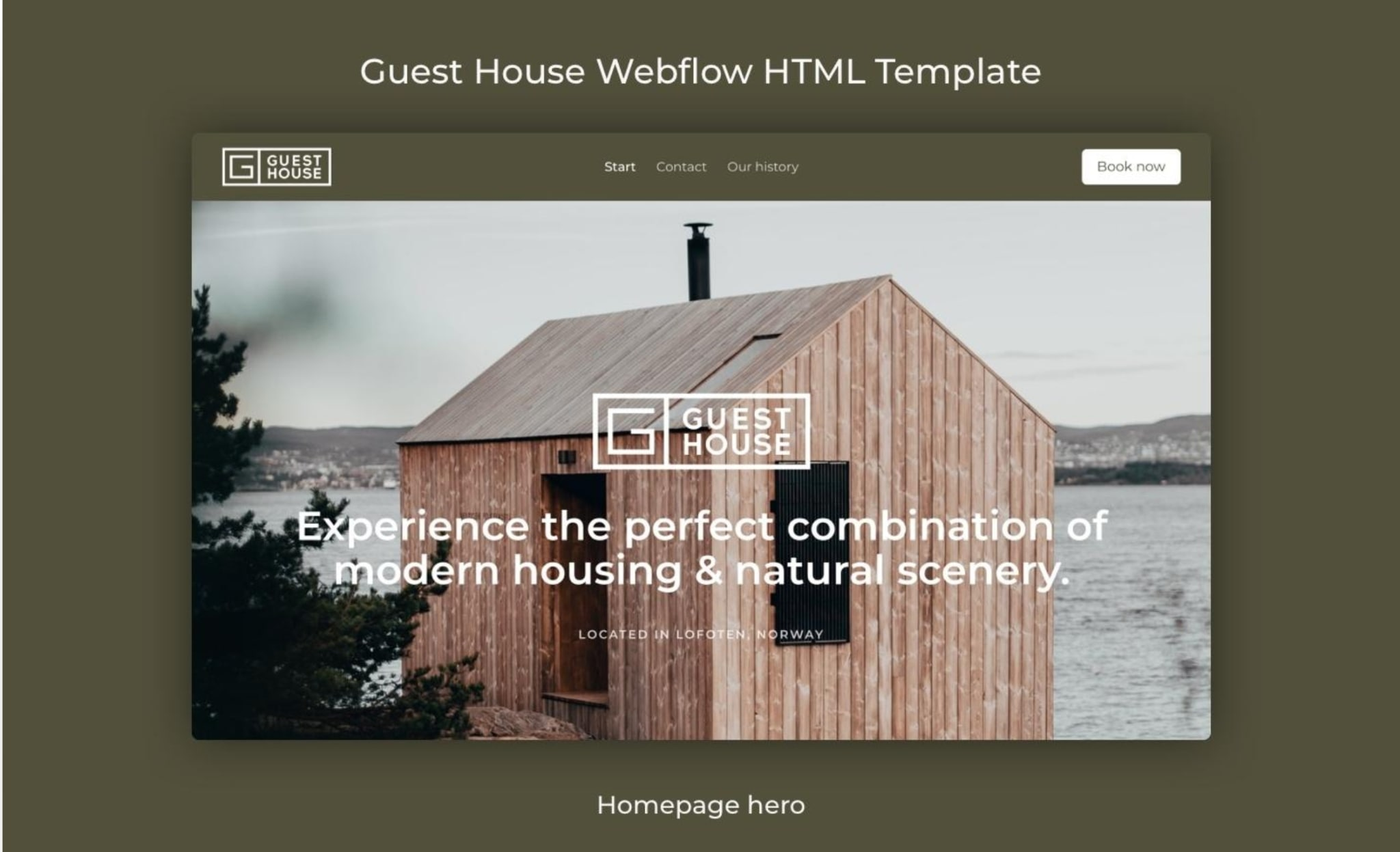 An image of the Guest House Webflow template.
