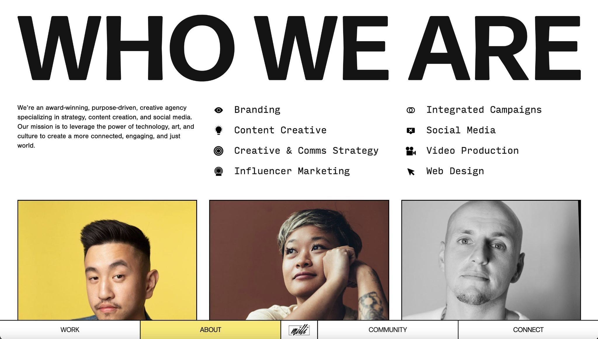 An image of the Who We Are section on the Milli Agency website.