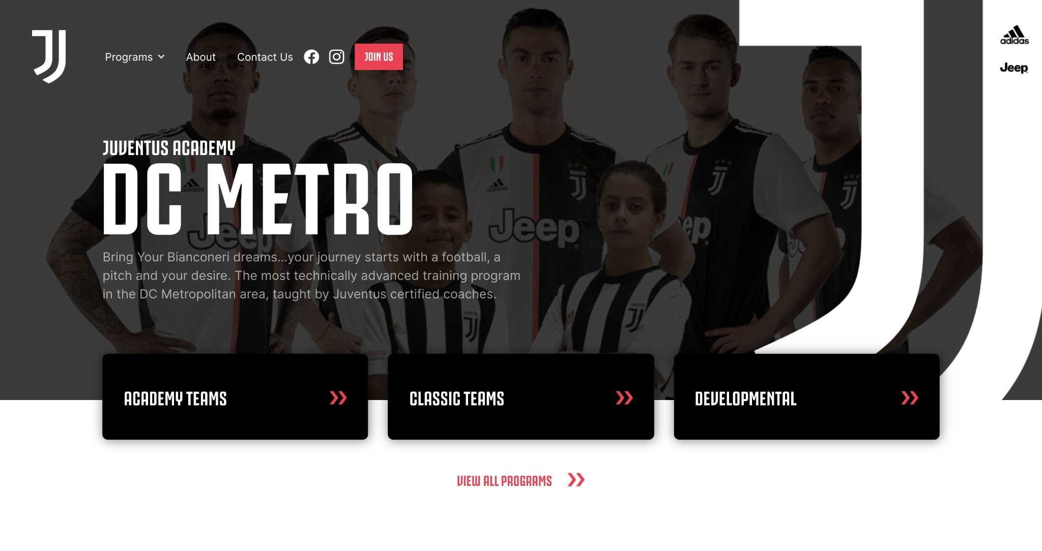 An image of the Juventus Academy DC website.