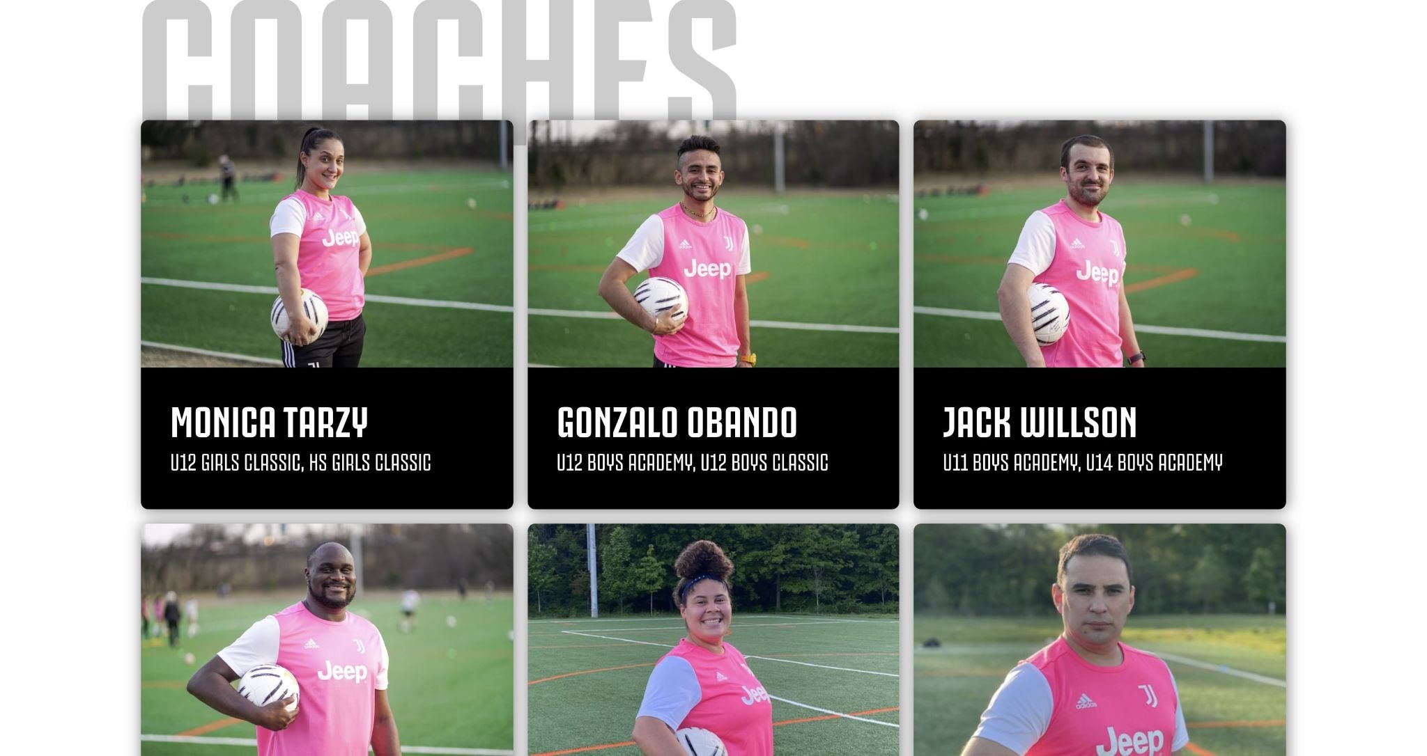 An image of the coaches page on the Juventus Academy DC website.