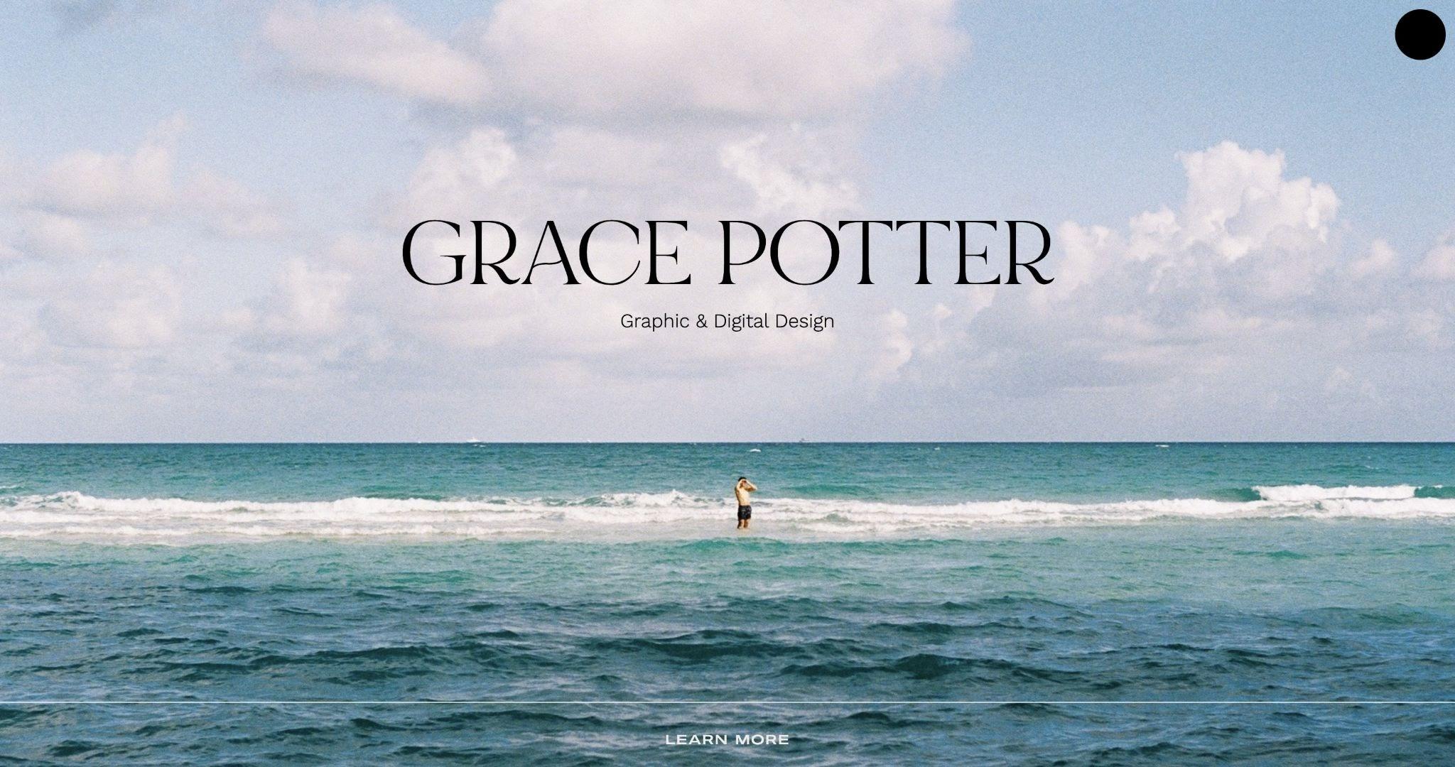 An image of Grace Potter's portfolio website.