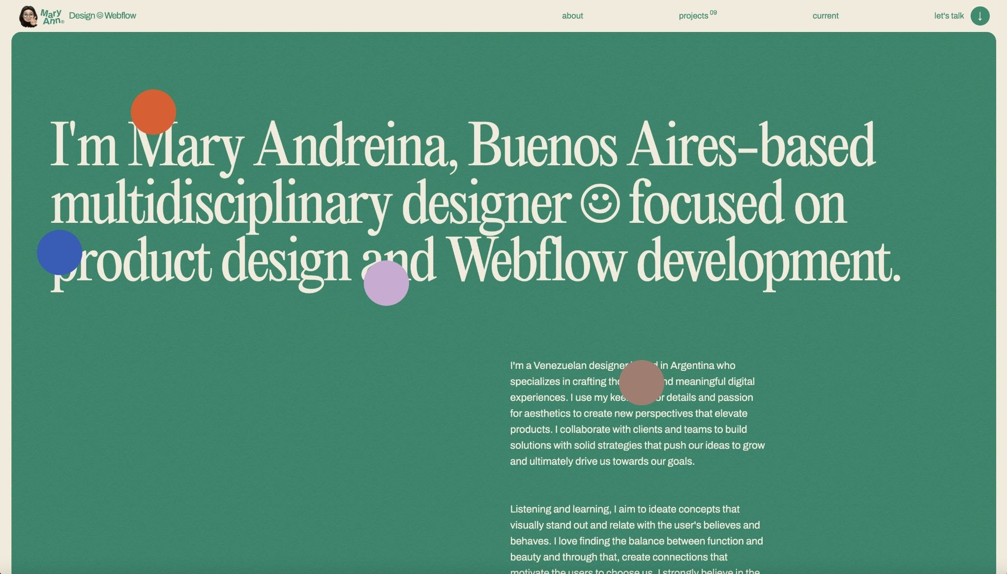 An image of Mary Andreina's portfolio home page.