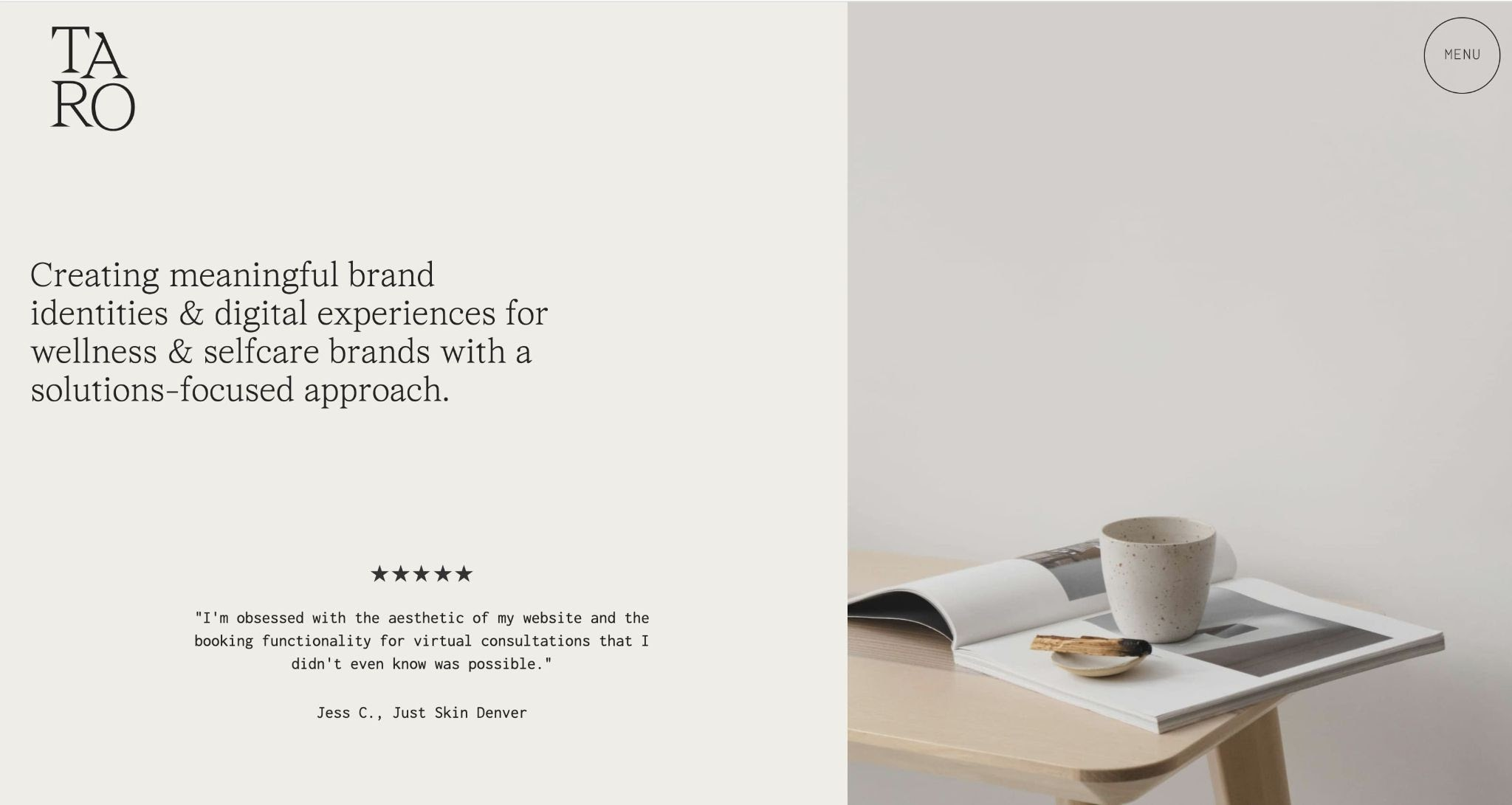 An image of the Taro Design Co. website