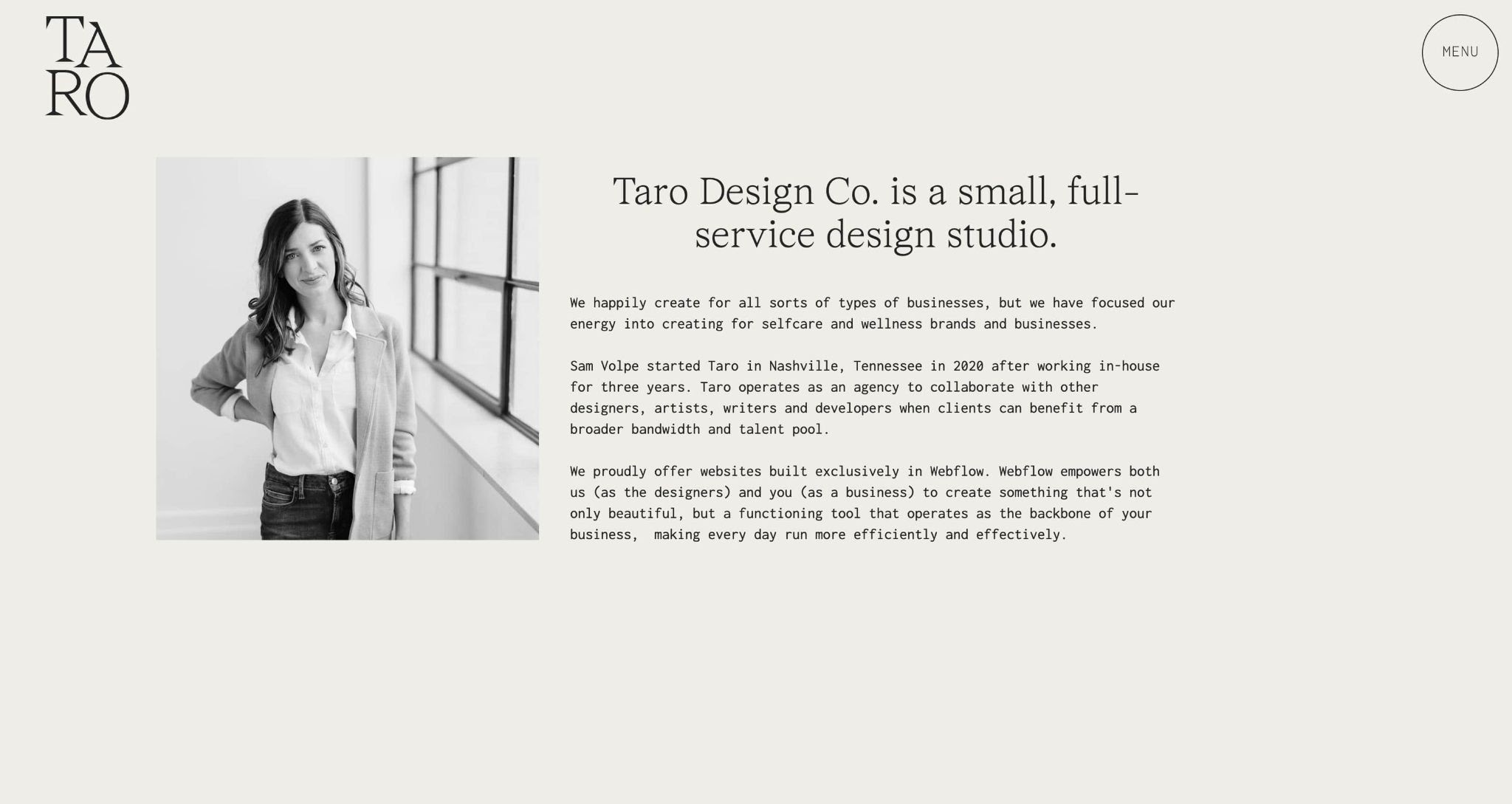 An image of the Taro Design Co. about section.