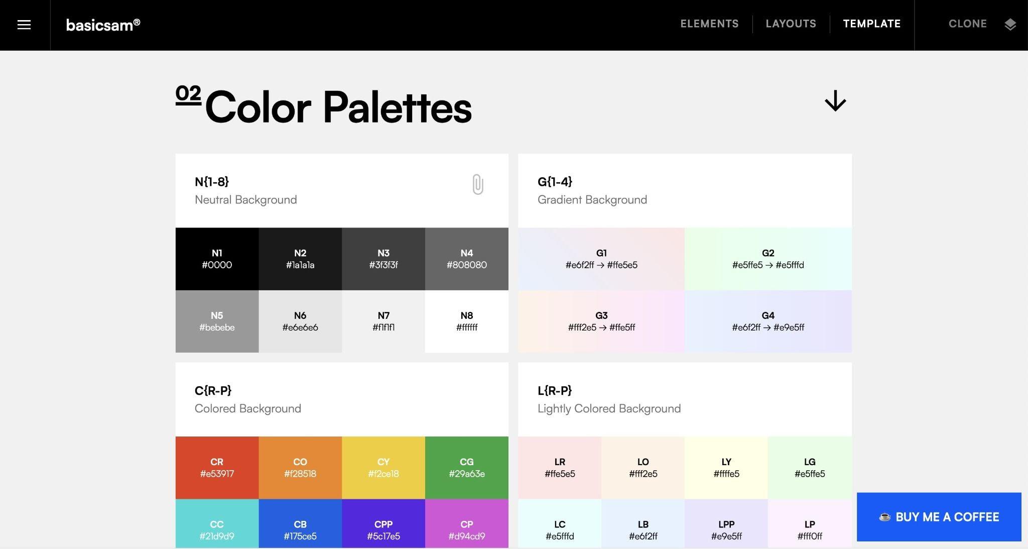 An image of the Color Palette's section in the Style Guide template.