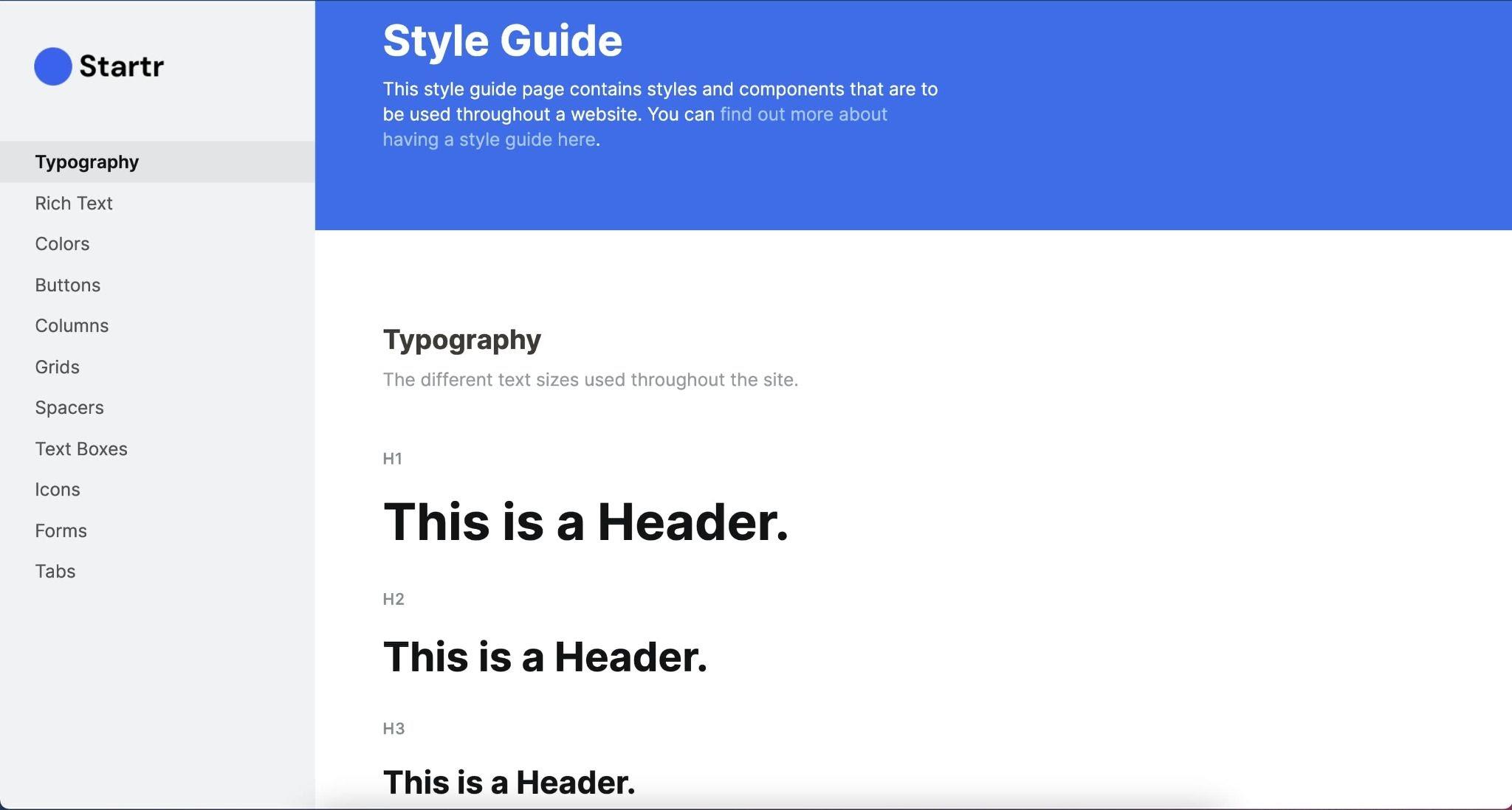 Screenshot of Startr brand design system site.