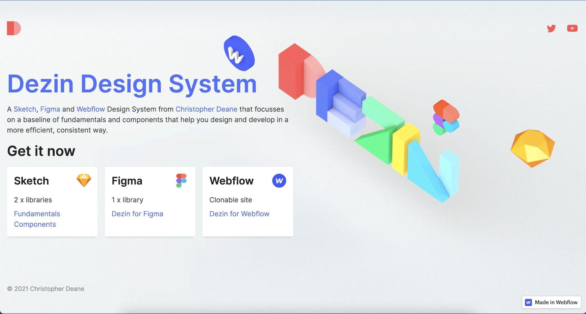 Screenshot of Dezin brand design system website.