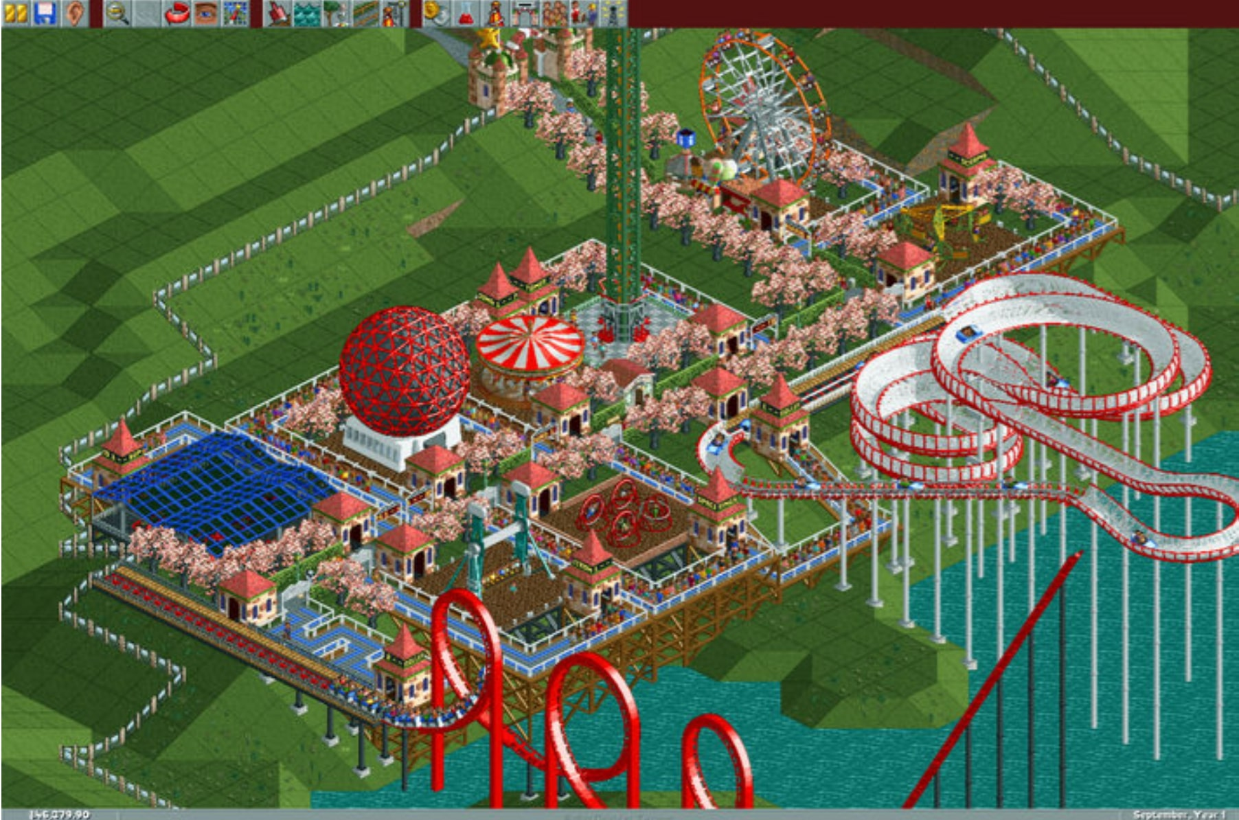 An image of original Rollercoaster Tycoon gameplay.