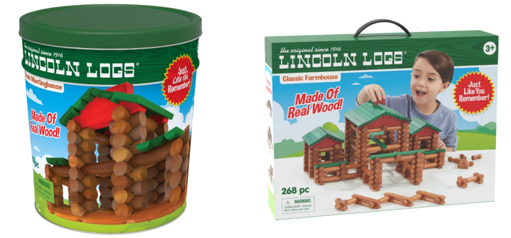 An image of two Lincoln Log sets.