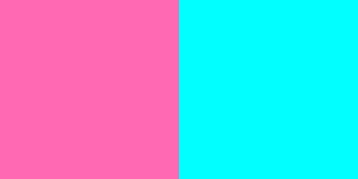 An image of hot pink and cyan color combination.