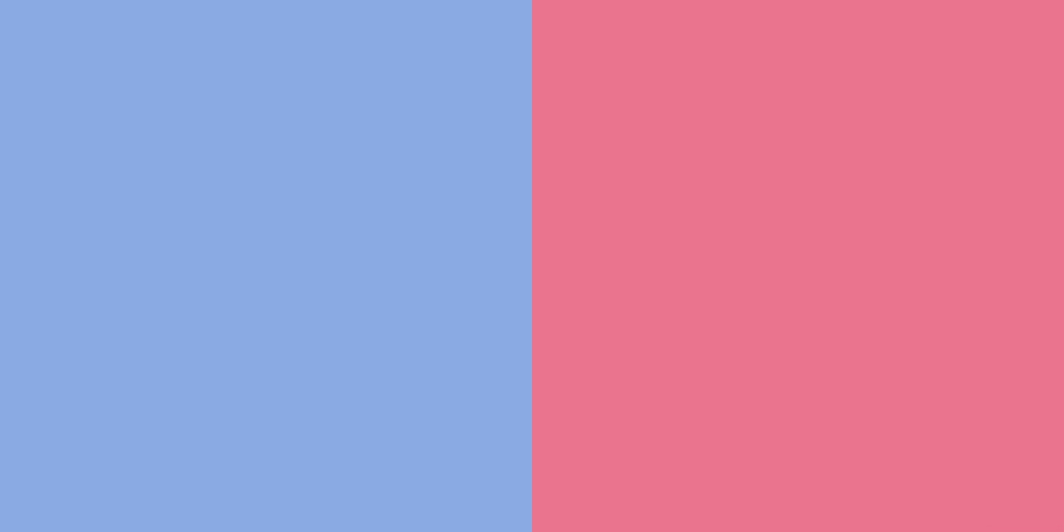 An image of the sky blue and bubblegum pink color combination.