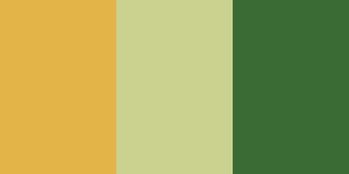 An image of the mustard, sage and forest green color combination.