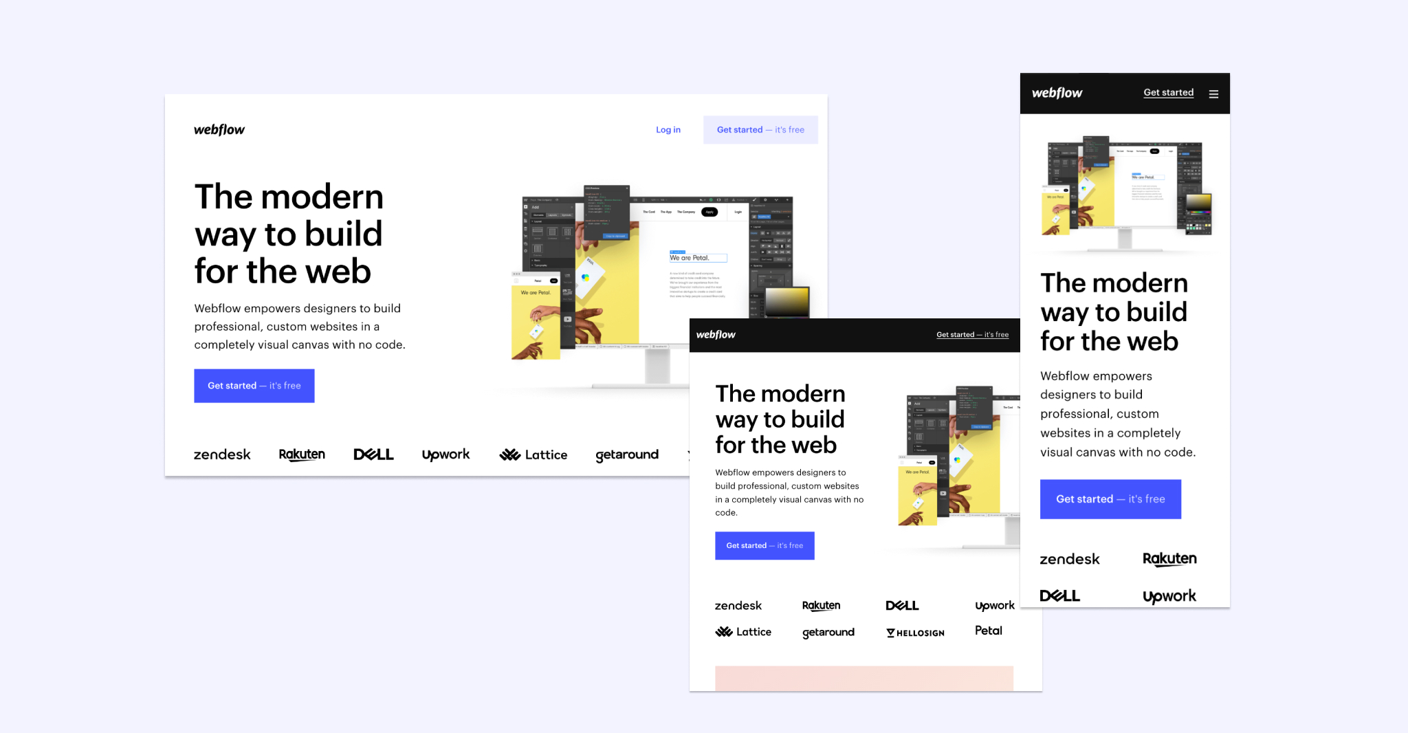 An image of different views of Webflow's website: desktop, tablet, and mobile.