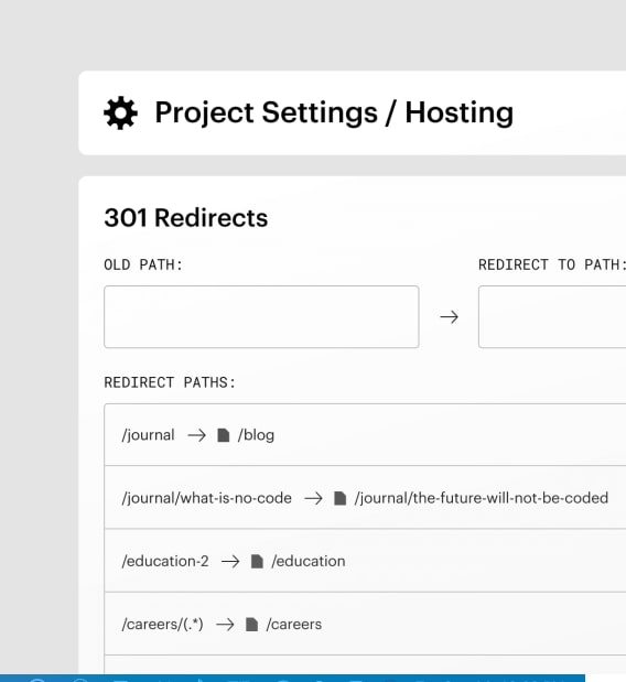 An example of setting up a 301 redirect in Webflow.