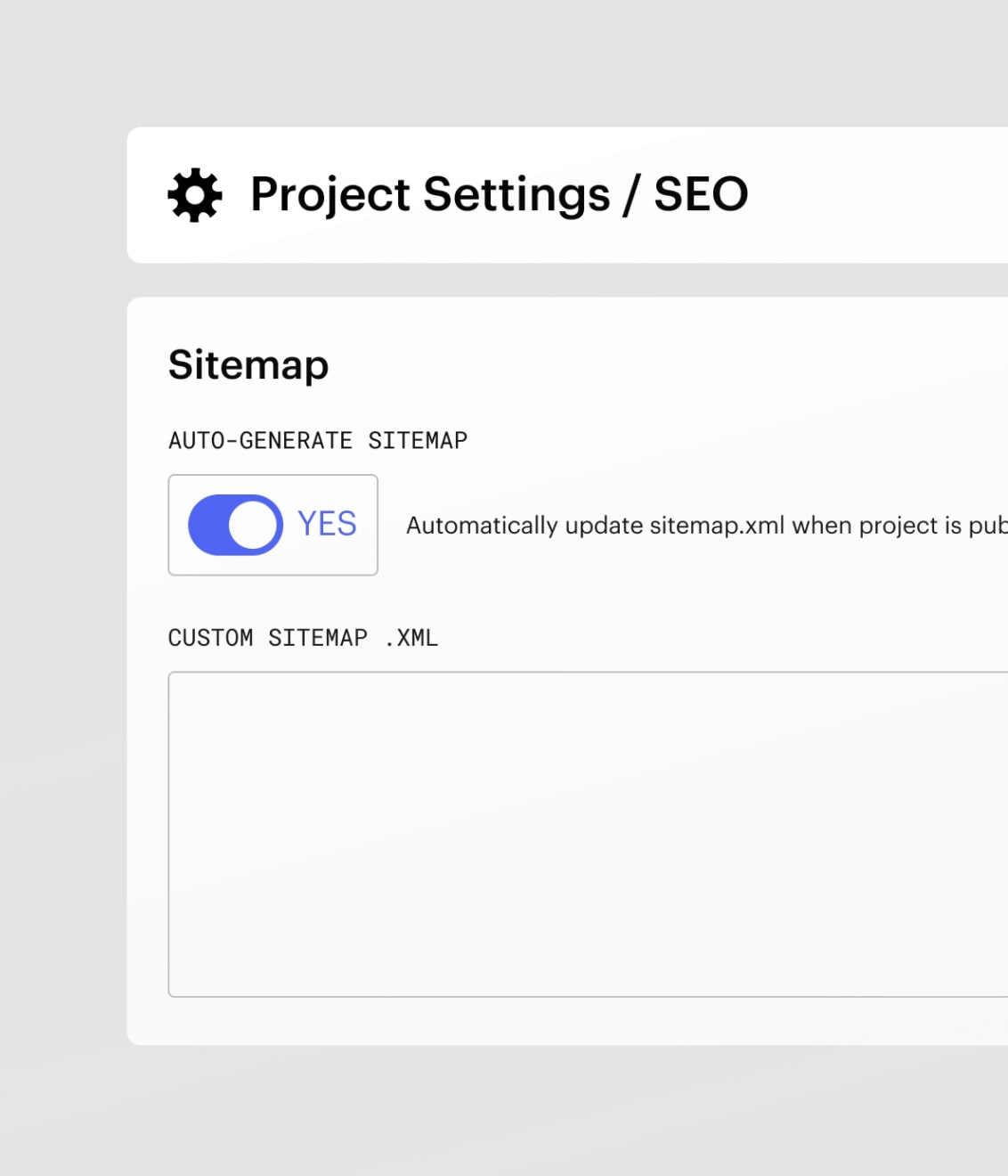 """An image of the """"auto-generate sitemap"""" toggle in Webflow."""