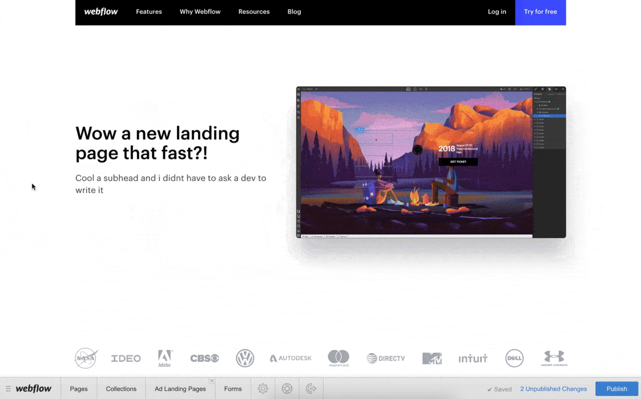 An image of the generated custom landing page from the content input into Webflow Editor.