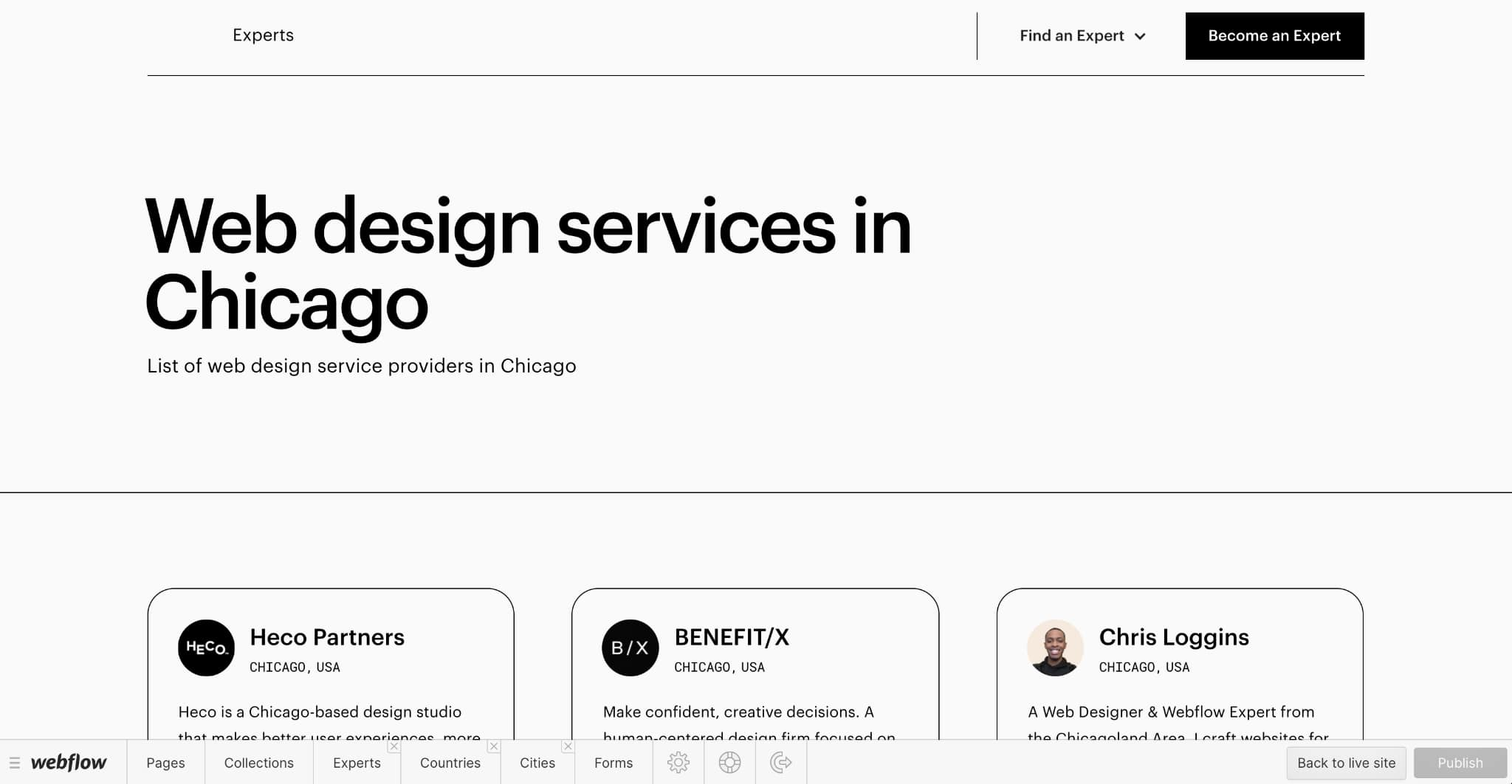 Landing page generated from Cities Collection item.