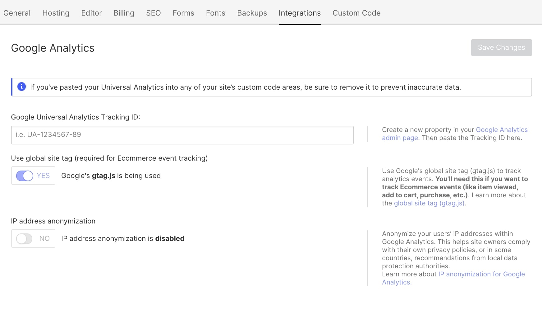 An image of setting up a Google Analytics tracking code in Webflow.