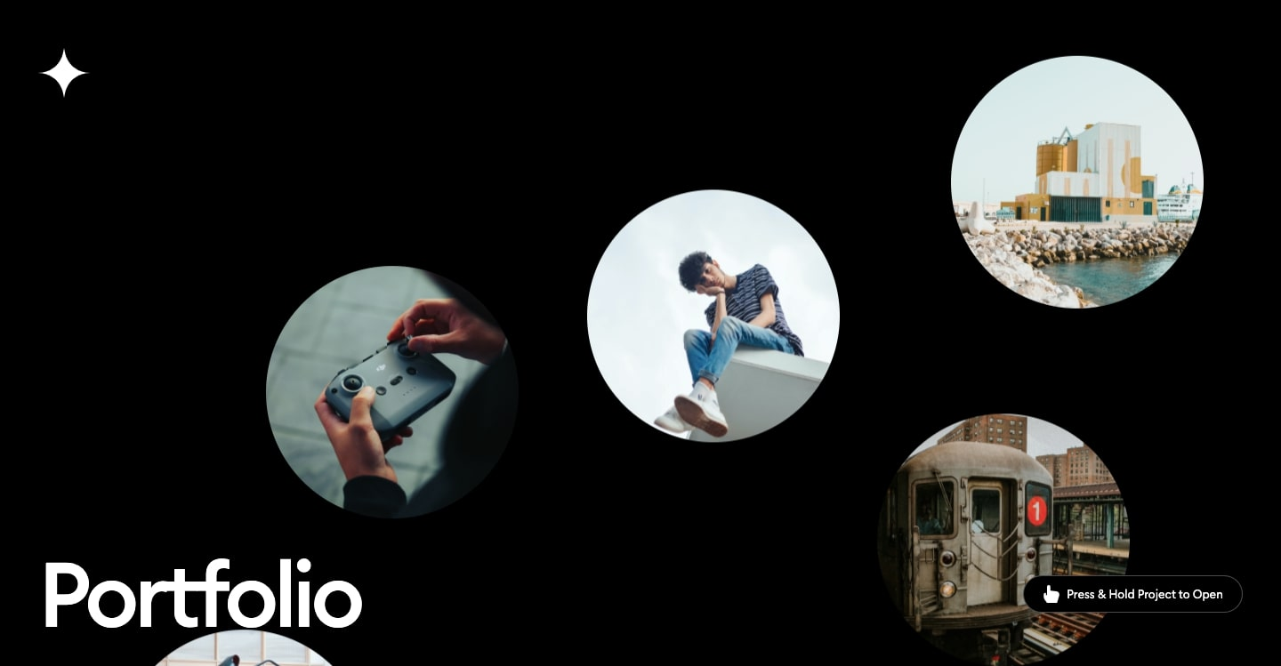 Screenshot of T.RICKS bubbles — bubbles with photos inside float on a black background.