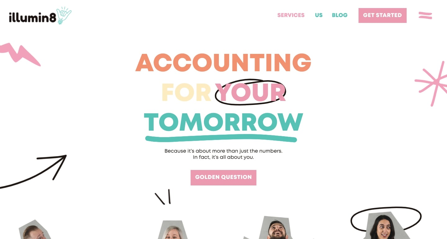 """Screenshot of Illumin8 hompage with text """"Accounting for your tomorrow"""""""