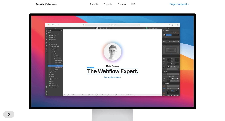 Screenshot of Moriz Peterson homepage, shows Moriz's website inside of the Webflow Designeri