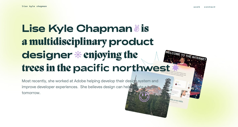 Screenshot of Lise Kyle Chapman homepage