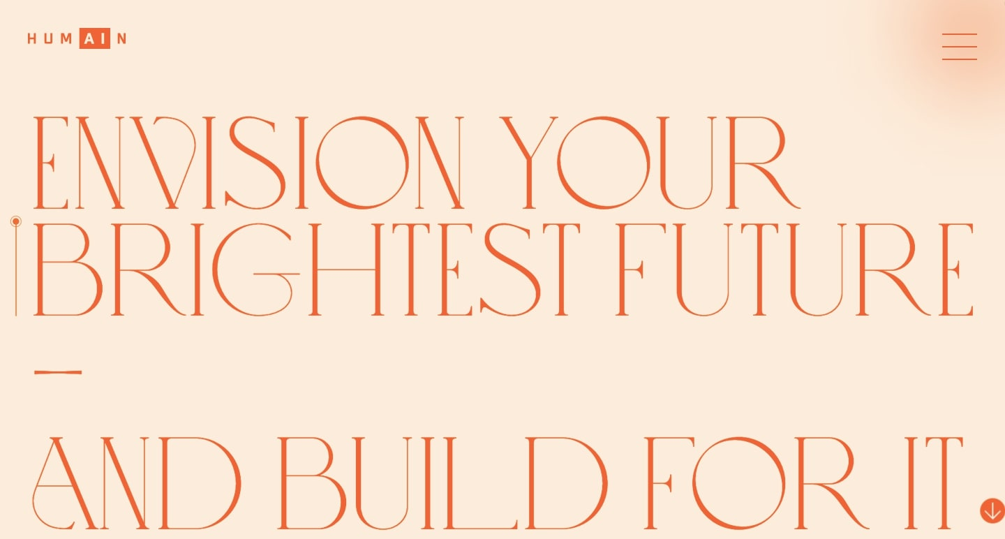 """Screenshot of Humain homepage with text """"envision your brightest future — and build for it"""""""