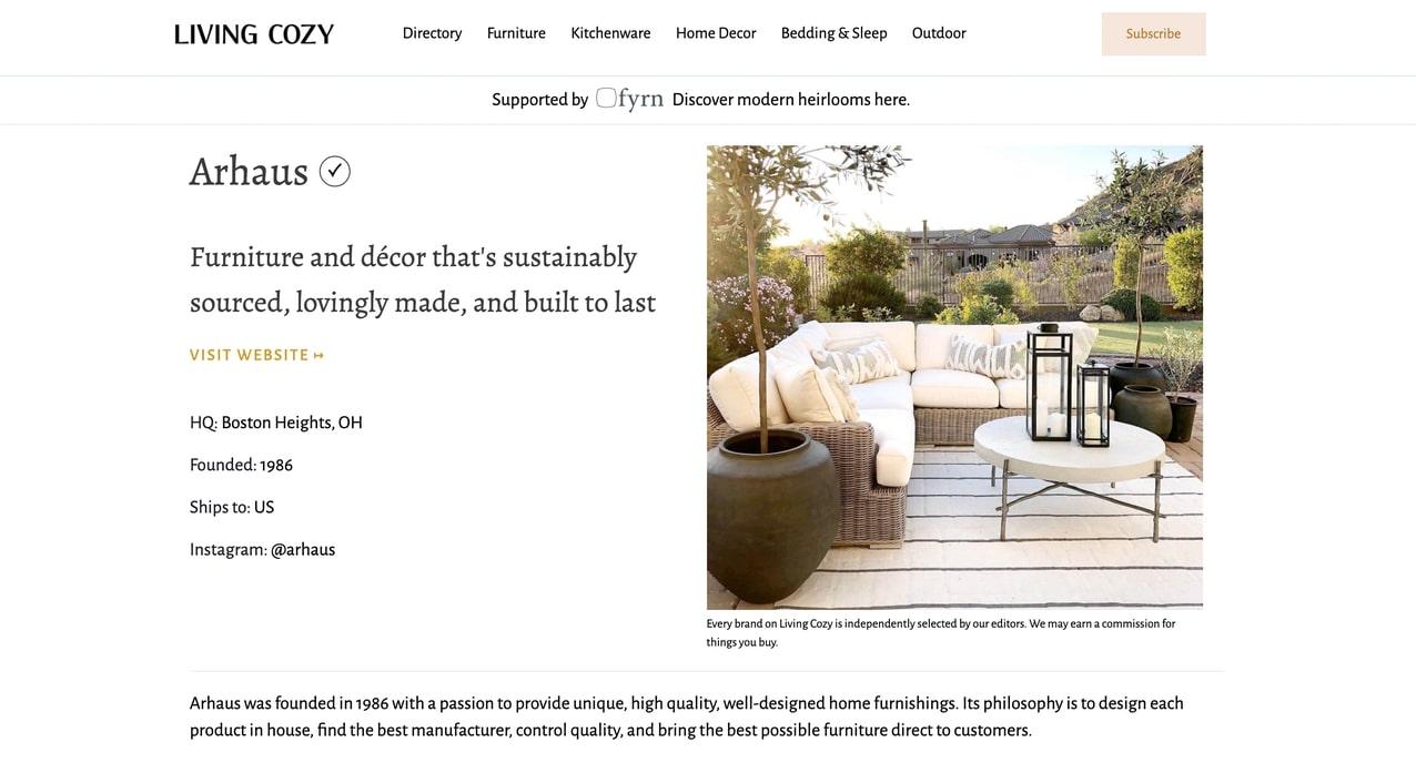 Screenshot of living cozy homepage