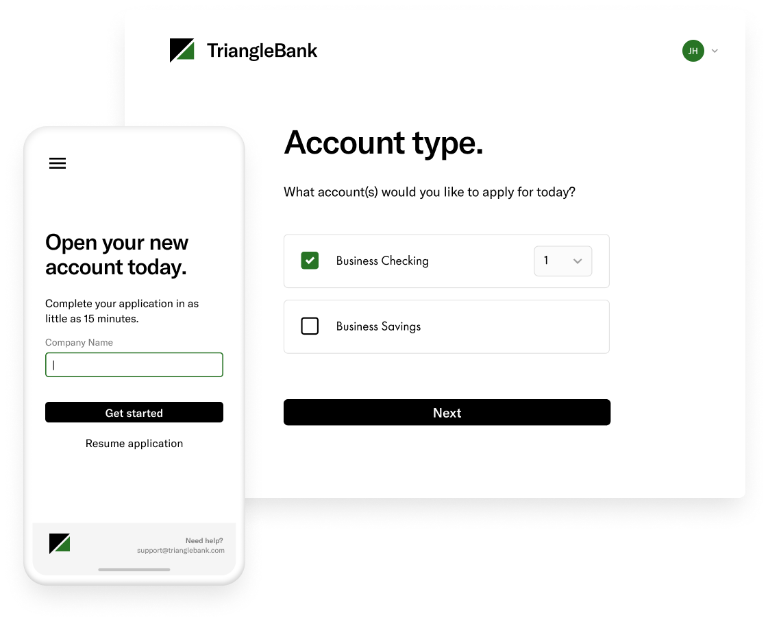 Treasury Prime bank account onboarding application interface screens on mobile and desktop