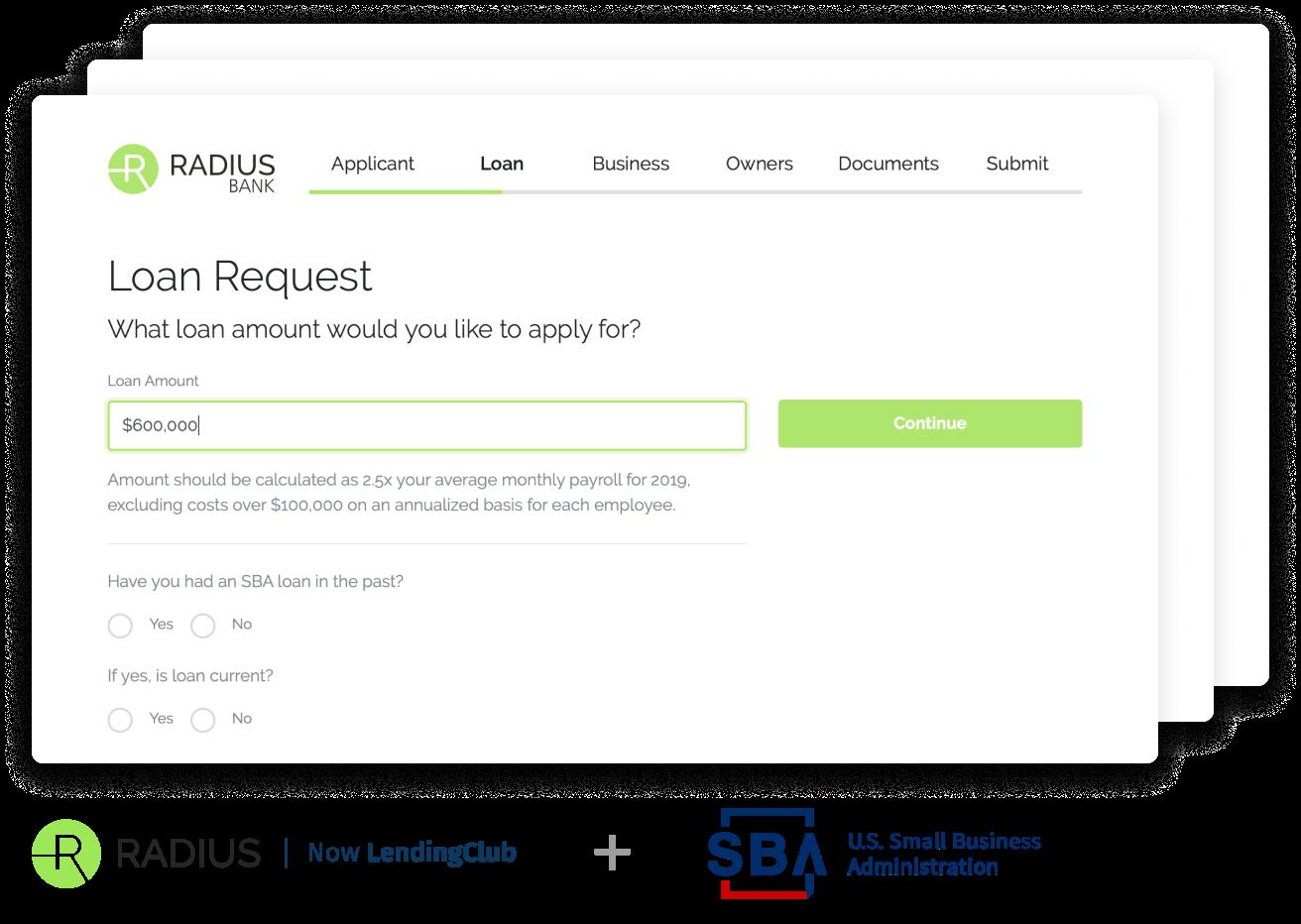 Radius Bank & Treasury Prime Small Business Administration Paycheck Protection Program loan application screen