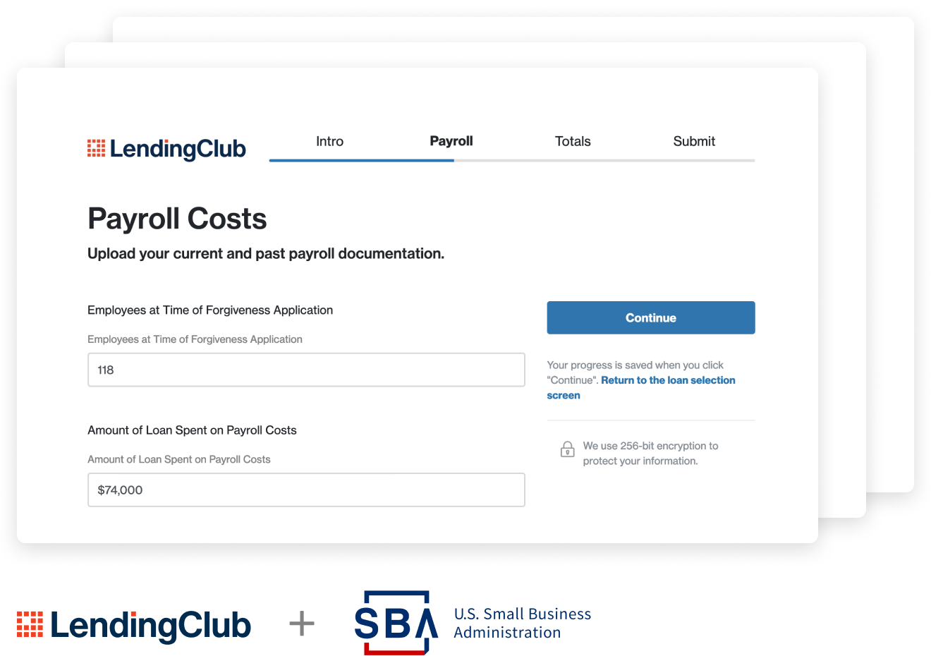 LendingClub Bank & Treasury Prime Small Business Administration Paycheck Protection Program loan forgiveness application screen