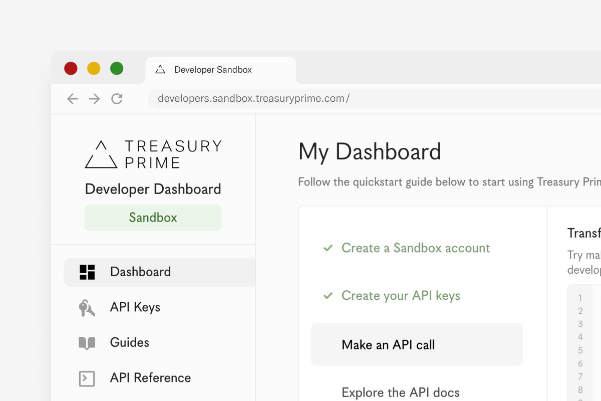 Treasury Prime Developer Sandbox interface